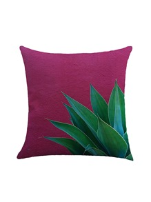 Contrast Leaf Print Pillowcase Cover