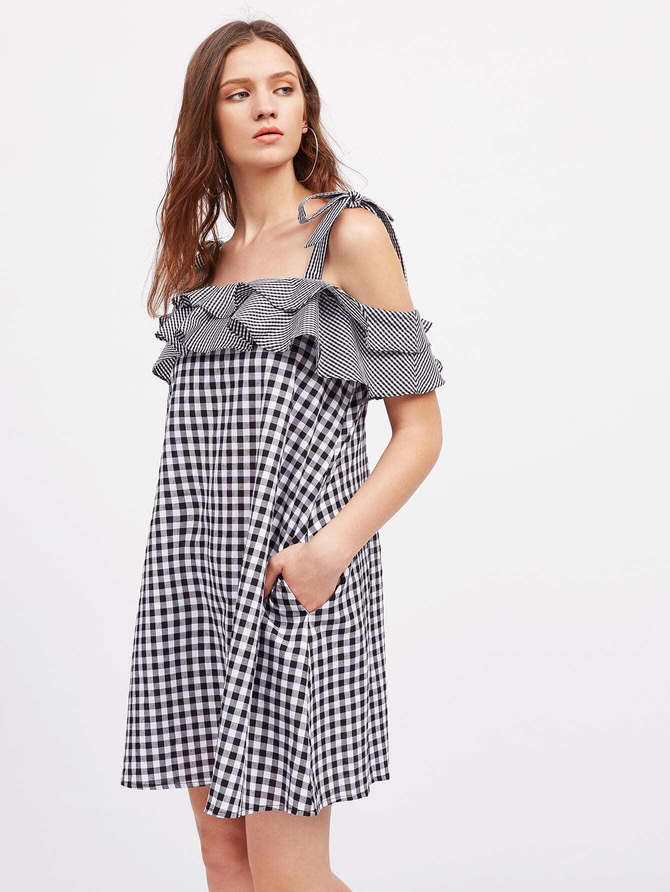 Фото Self Tie Shoulder Layered Frill Mixed Gingham Dress. Купить с доставкой
