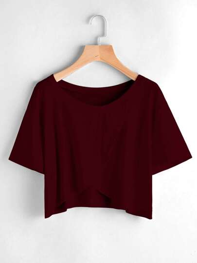 Wrap Split Front Drop Shoulder Tee