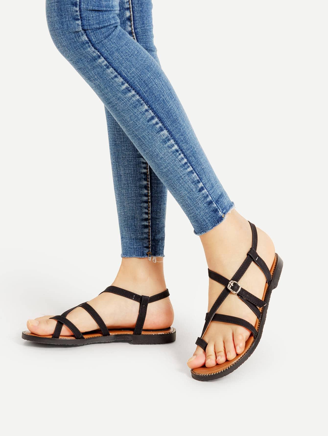 Фото Toe Post Strappy PU Sandals. Купить с доставкой