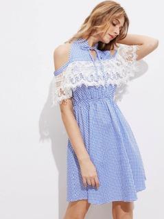 Tie Neck Open Shoulder Lace Ruffle Trim Gingham Dress