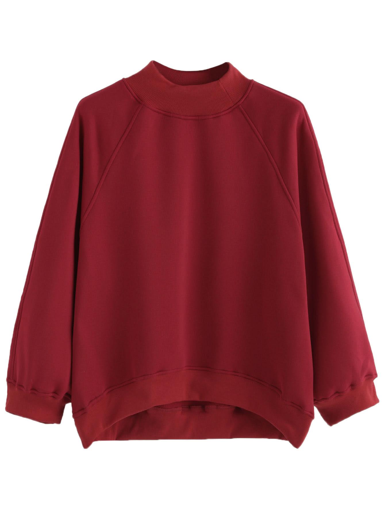 Burgundy Raglan Sleeve Dip Hem Sweatshirt two tone raglan sleeve sweatshirt