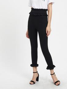 Frill Trim Zip Side Skinny Pants