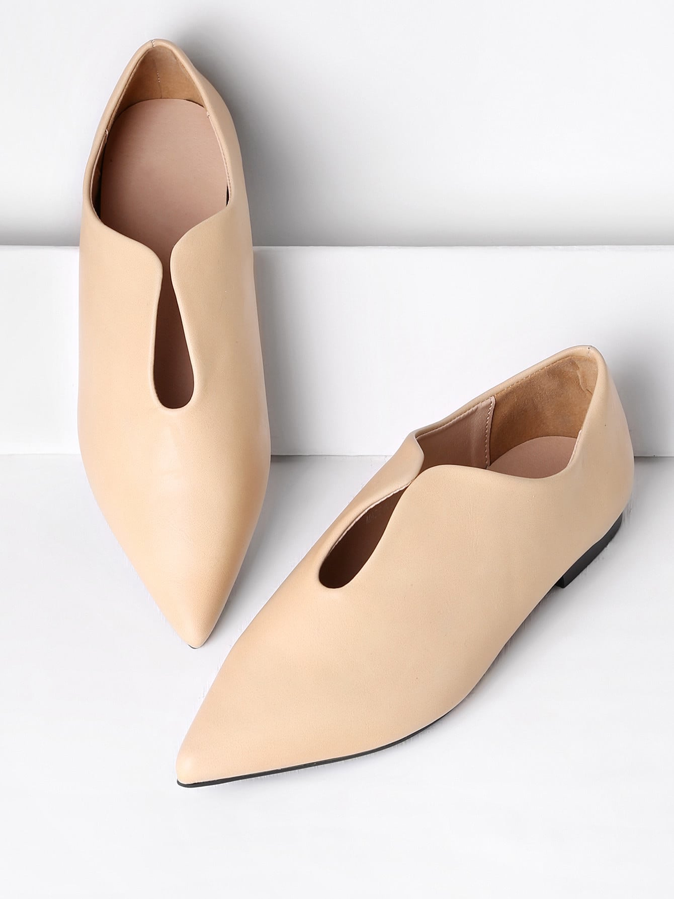 Image of Pointed Toe PU Flats