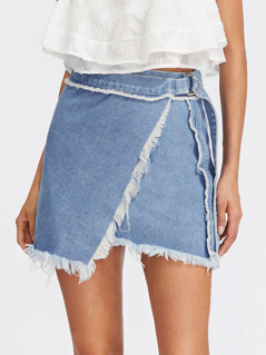 D-Ring Belted Frayed Overlap Denim Skirt