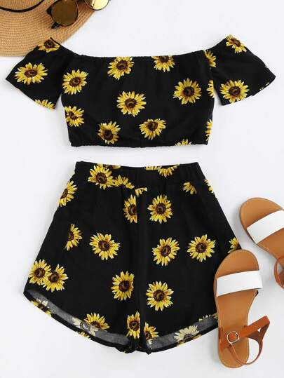Bardot Sunflower Print Crop Top And Shorts Set