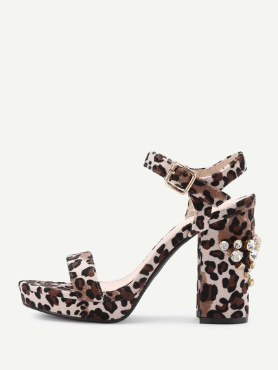 Rhinestone Two Part Block Heeled Leopard Sandals