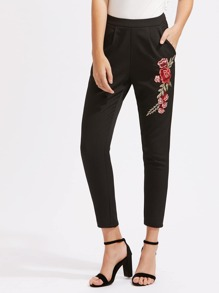 Embroidered Flower Applique Tailored Pants