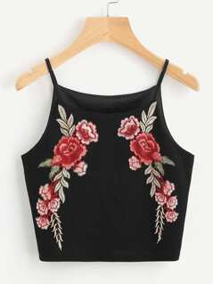 Rose Patch Crop Cami Top