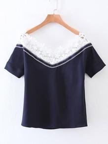 T-Shirt mit Boot-Ausschnitt und Spitzen