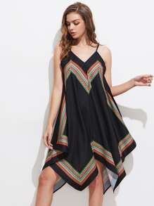 Tribal Print Asymmetrical Cami Dress
