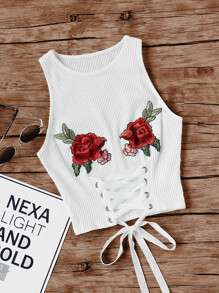 Embroidered Rose Patch Lace Up Ribbed Tank Top