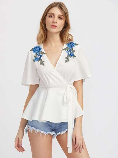 Embroidered Flower Applique Wrap Peplum Top