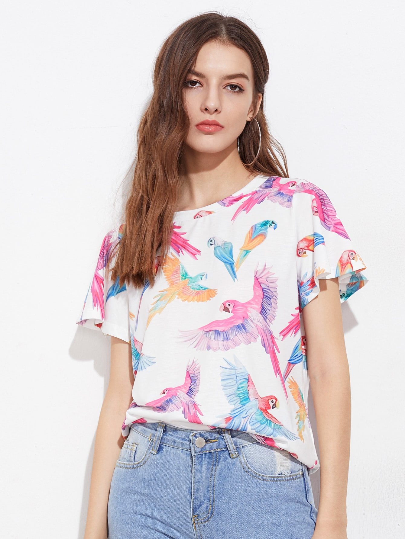 Фото Allover Parrot Print T-shirt. Купить с доставкой