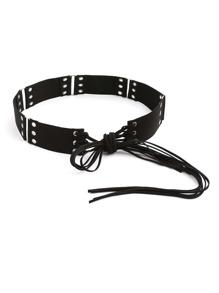 Eyelet Detail Fringe Tie Belt
