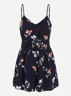 Cami Straps Lace Up Corset Floral Playsuit