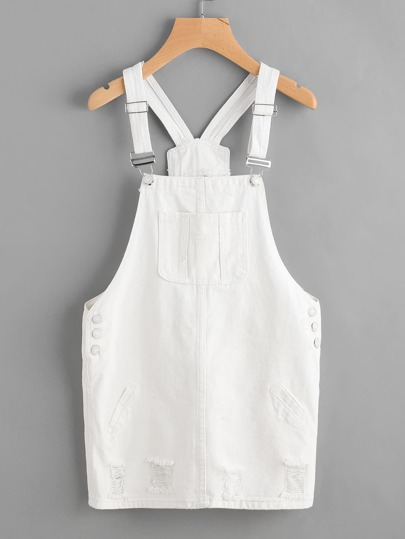 Badge Denim Overall Dress With Pockets