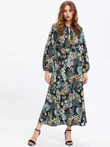 Lace Up Front Floral Print Maxi Dress