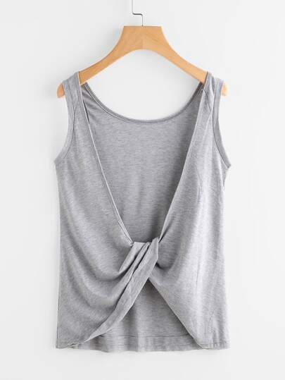 Twist Knot Back Marled Tank Top