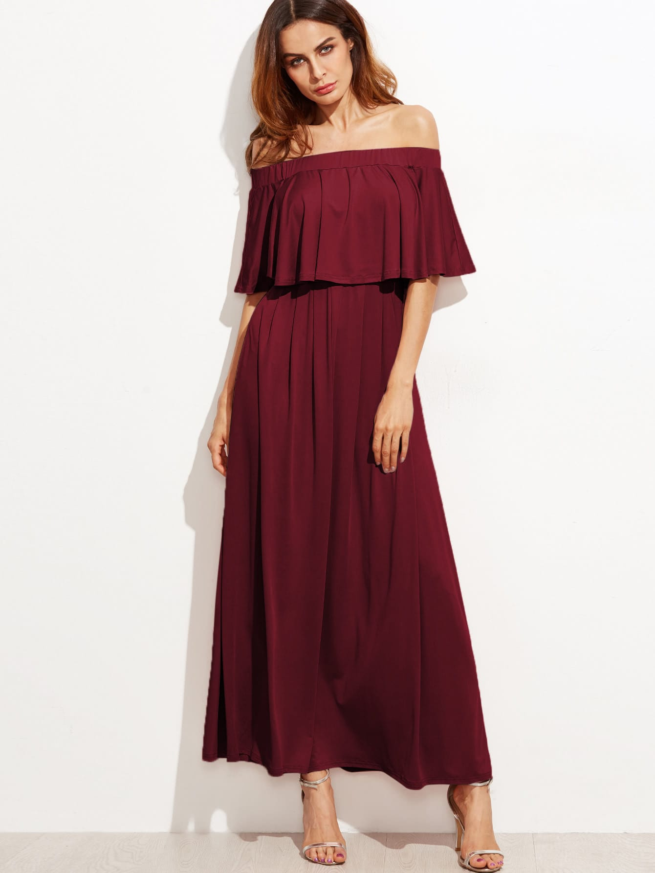 Double Layer Bardot Dress flytop 3 4persond double layer 2use