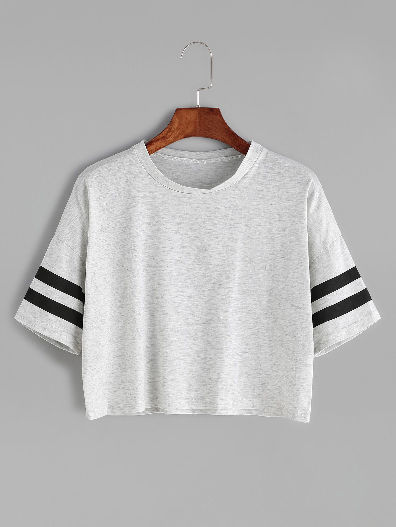 Grey Dropped Shoulder Seam Varsity Striped Crop T-shirt striped grommet lace up dropped shoulder top