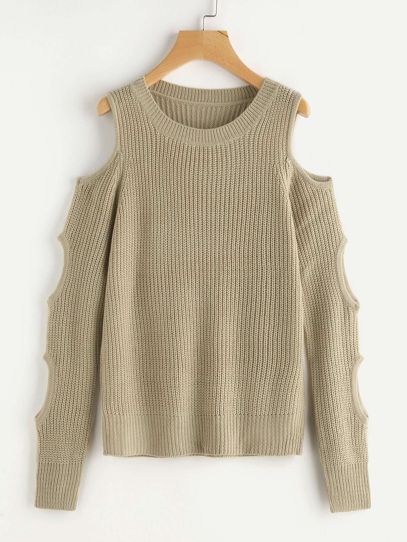 Open Shoulder Cutout Sleeve Jumper