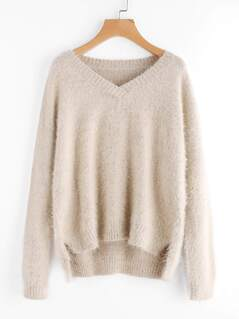 Dip Hem Speckled Knit Fuzzy Jumper