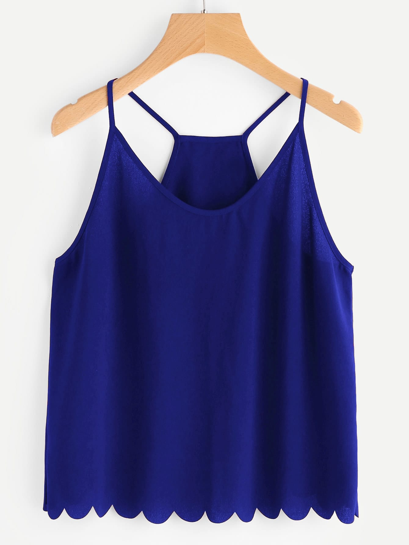 Overlap Back Scallop Edge Cami Top scallop edge plunge cami bodysuit