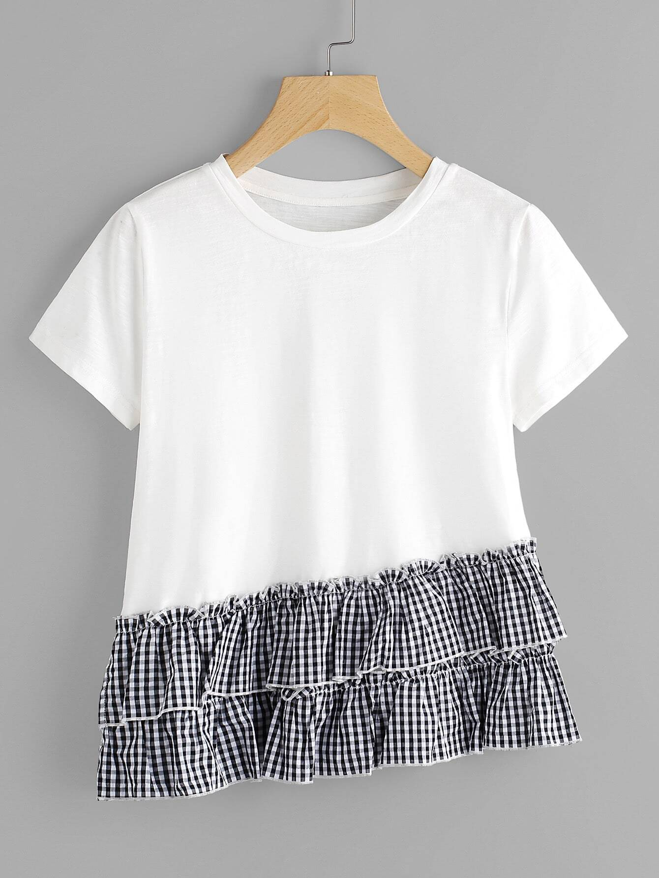 Фото Layered Gingham Ruffle Trim Slub T-shirt. Купить с доставкой