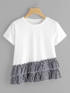 Layered Gingham Ruffle Trim Slub T-shirt