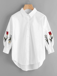 Flower Embroidery Single Breasted Blouse