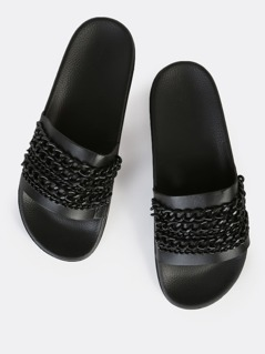 Leather Chain Link Slides BLACK