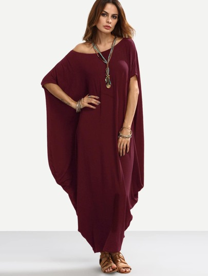 Asymmetric Shoulder Dolman Sleeve Draped Cocoon Dress