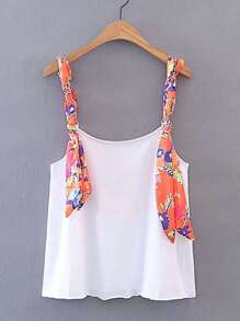Contrast Flower Print Strap Cami Top