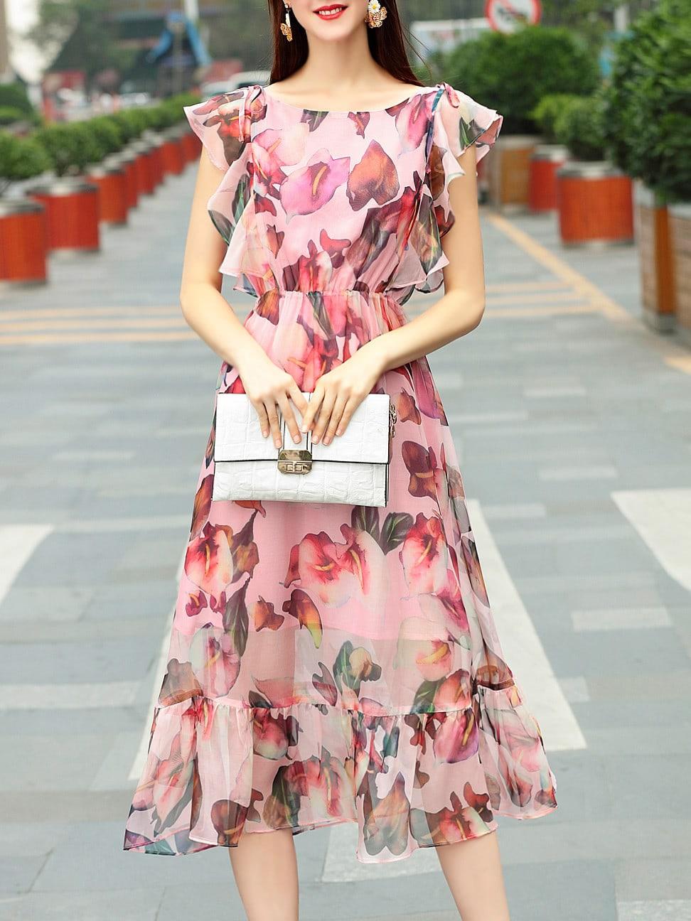 Фото Ruffle Sleeve Leaves Print Dress. Купить с доставкой