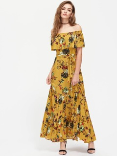 Flounce Off Shoulder Tiered Hem Botanical Dress