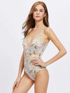 Flower Print Low Back Plunging Cami Bodysuit