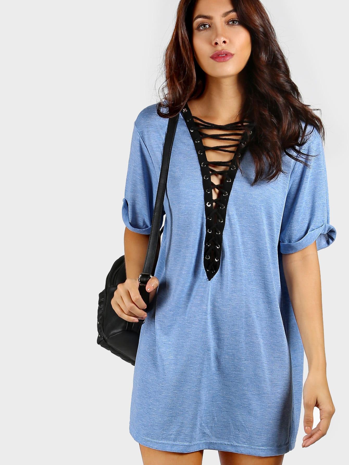 Купить Модное платье со шнуровкой, Sophia G, SheIn