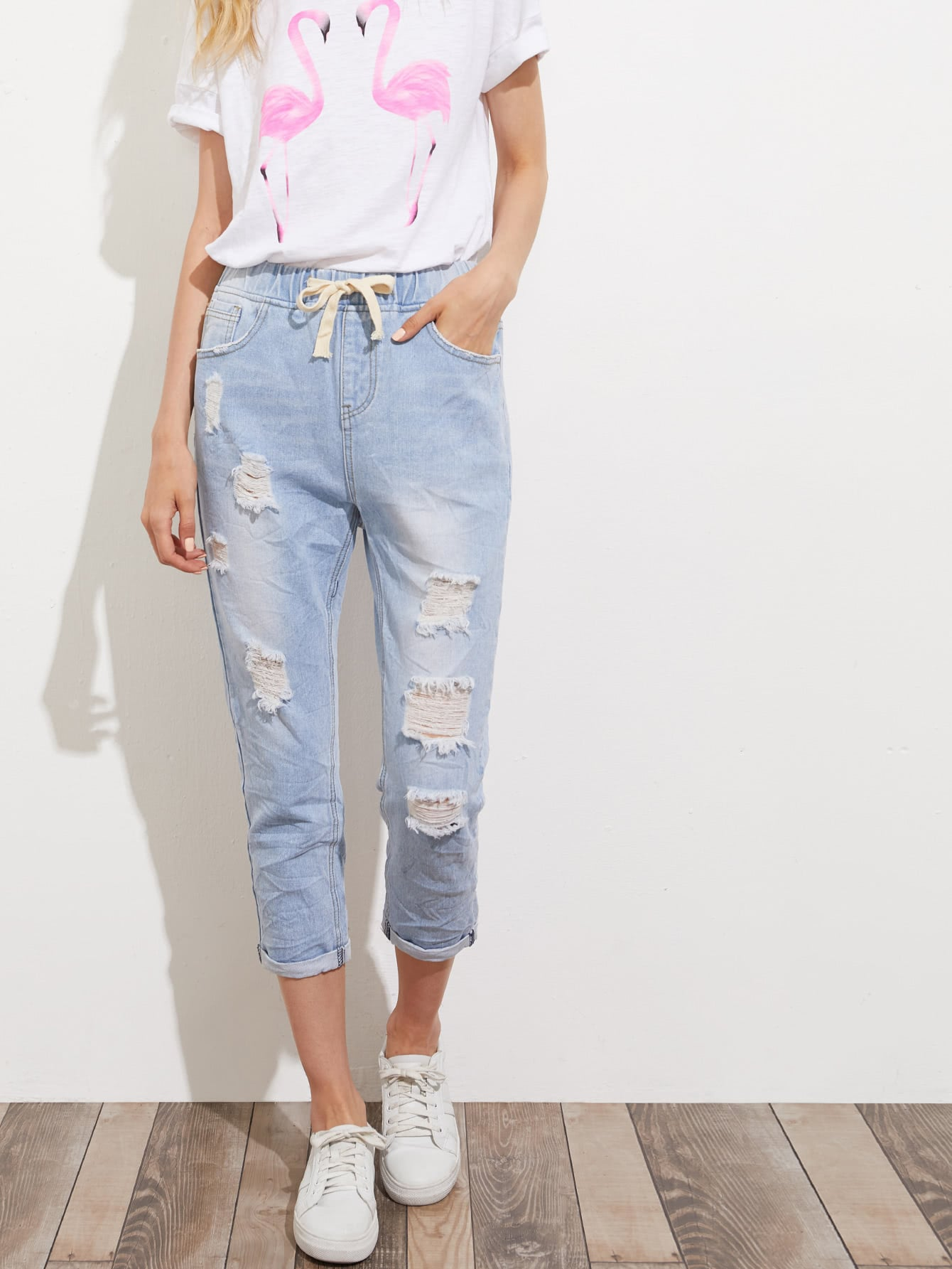 Bleach Wash Crop Distressed Jeans thumbnail