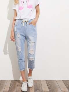 Bleach Wash Crop Distressed Jeans