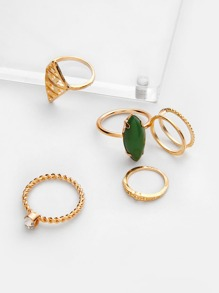Gemstone Design Ring Set 6pcs