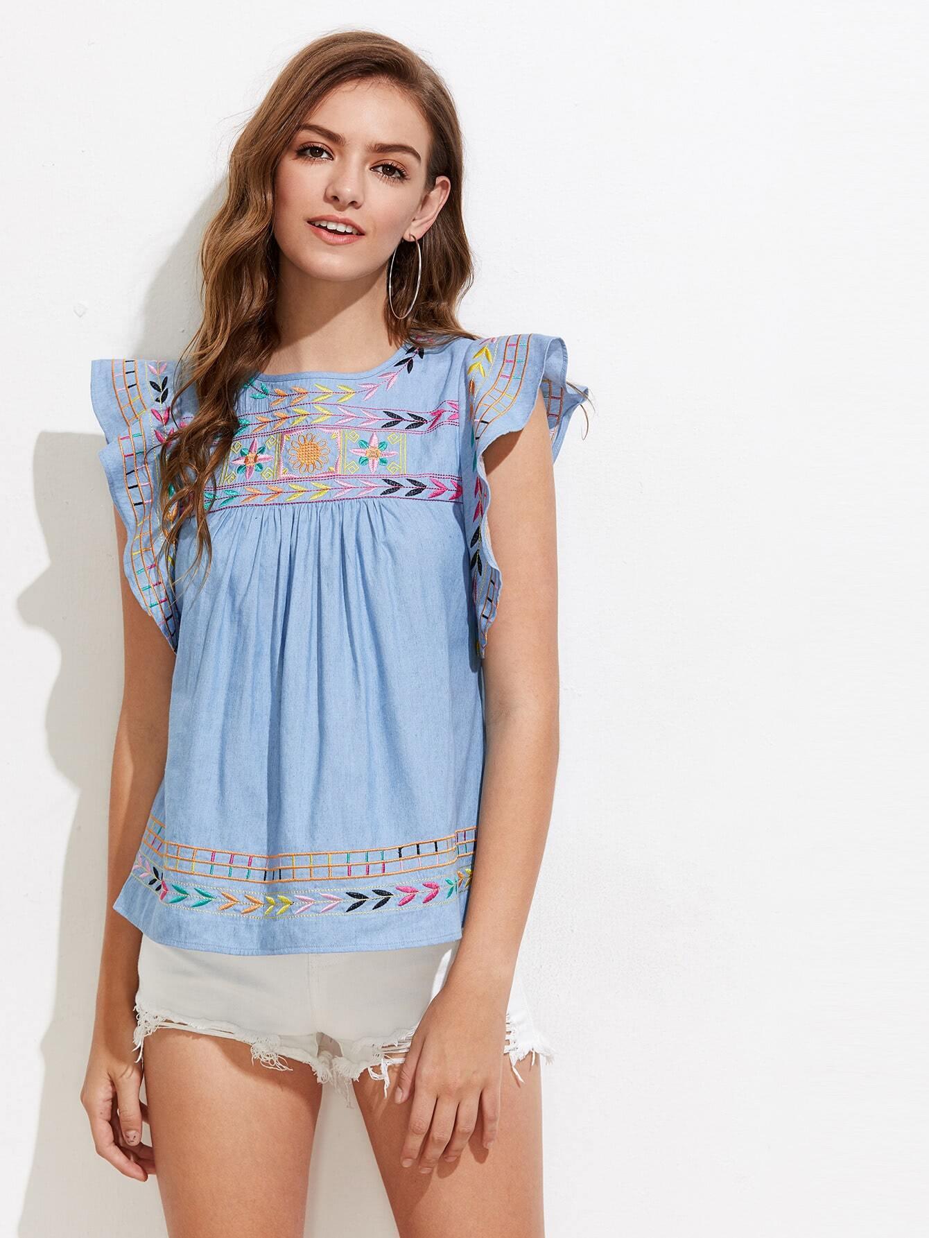 Фото Flutter Sleeve Embroidered Chambray Top. Купить с доставкой