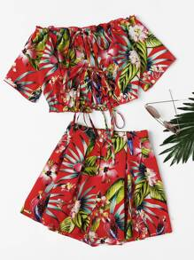 Bardot Tropical Print Lace Up Top With Shorts