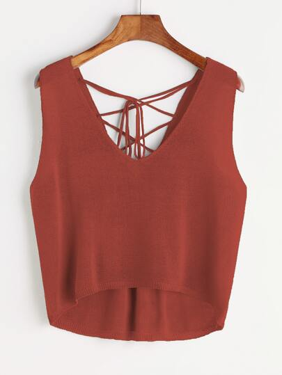 Dip Hem Lace Up Self Tie Back Tank Top