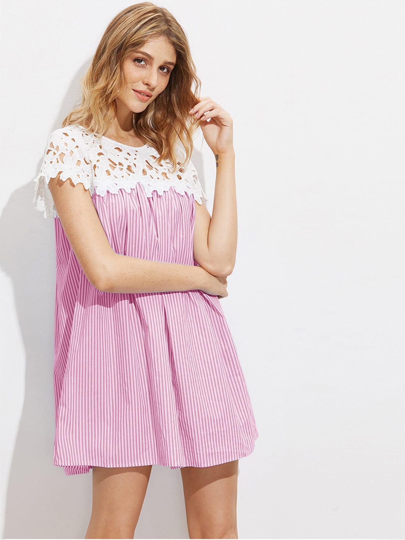 Фото Contrast Floral Crochet Yoke Striped Dress. Купить с доставкой