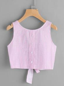 Vertical Striped Open Back Bow Tie Crop Tank Top