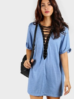 Contrast Lace Up Plunging Neck Cuffed Tee Dress