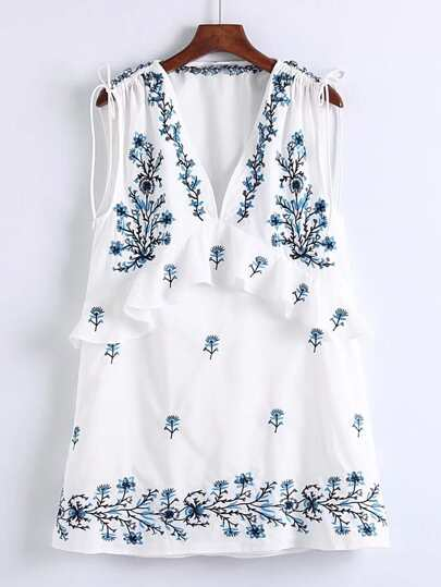 Ruffle Trim Lace Up Detail Embroidery Dress
