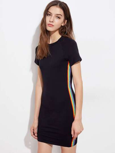Rainbow Stripe Side Tee Dress