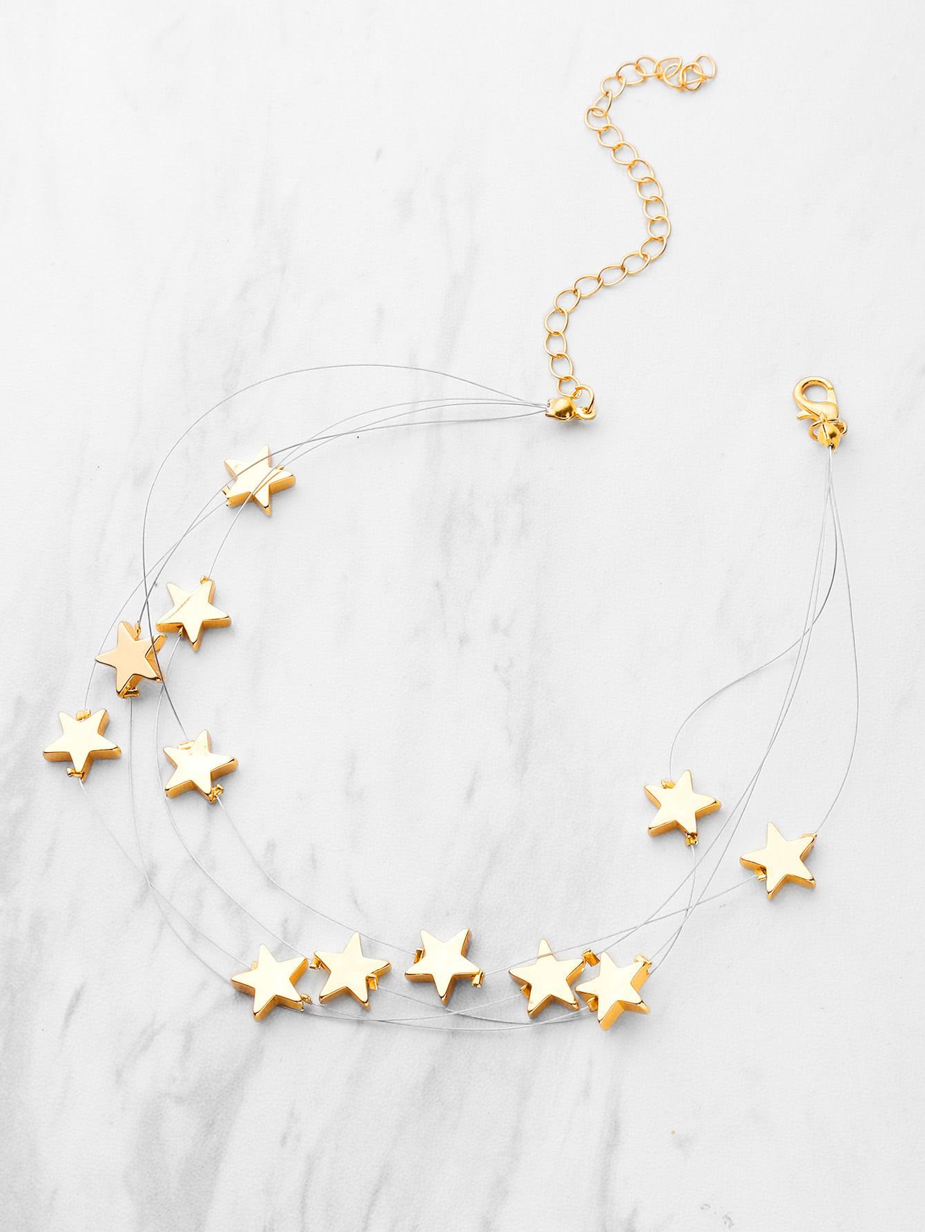 Metal Star Design Layered Necklace
